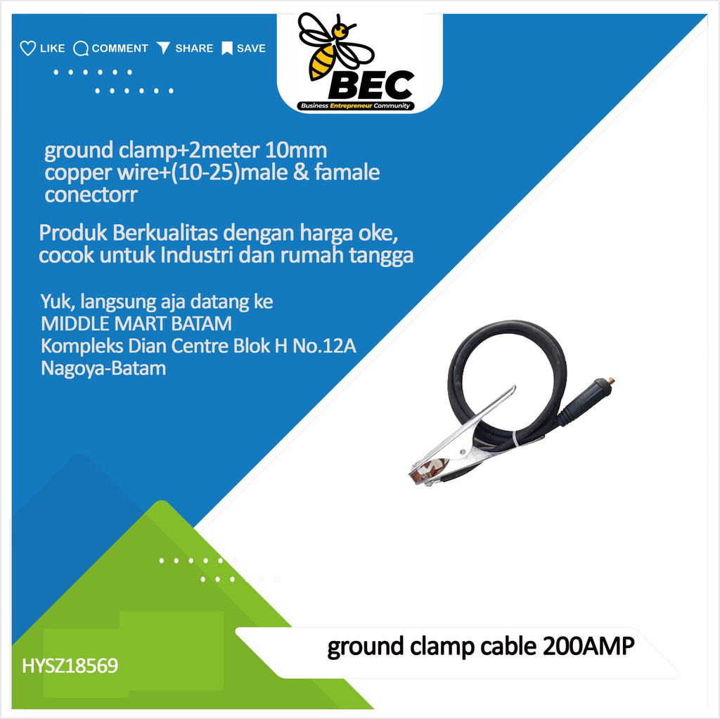 ground clamp cable 200AMP ground clamp+2meter 10mm copper wire+(10-25)male & famale connector