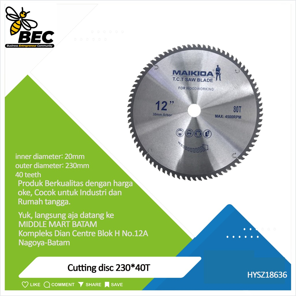 Cutting disc  230*40T Material Carbide Inner diameter 20MM Outer diameter 230MM 40 teeth