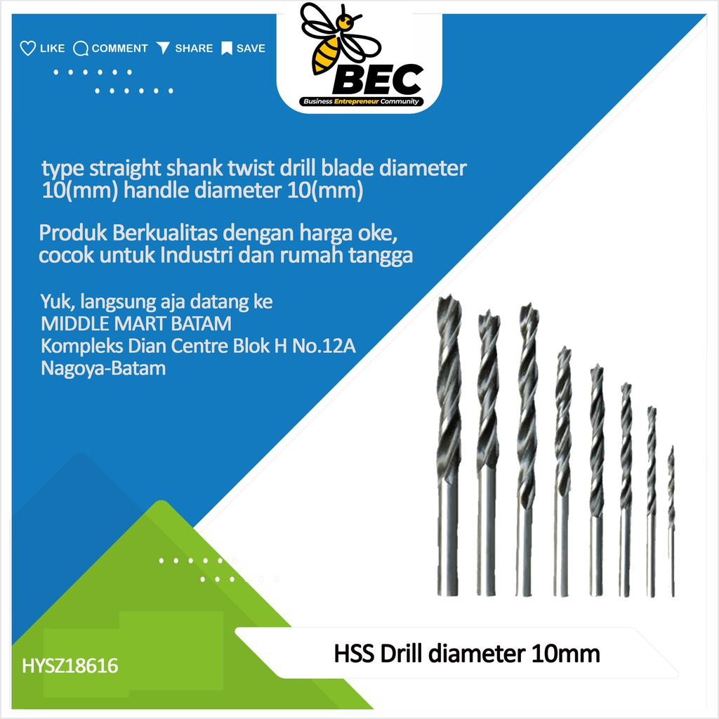 HSS Drill Bit  texture  High speed steel  Type straight shank twist drill blade diameter 10 (mm) Handle diameter 10 (mm)