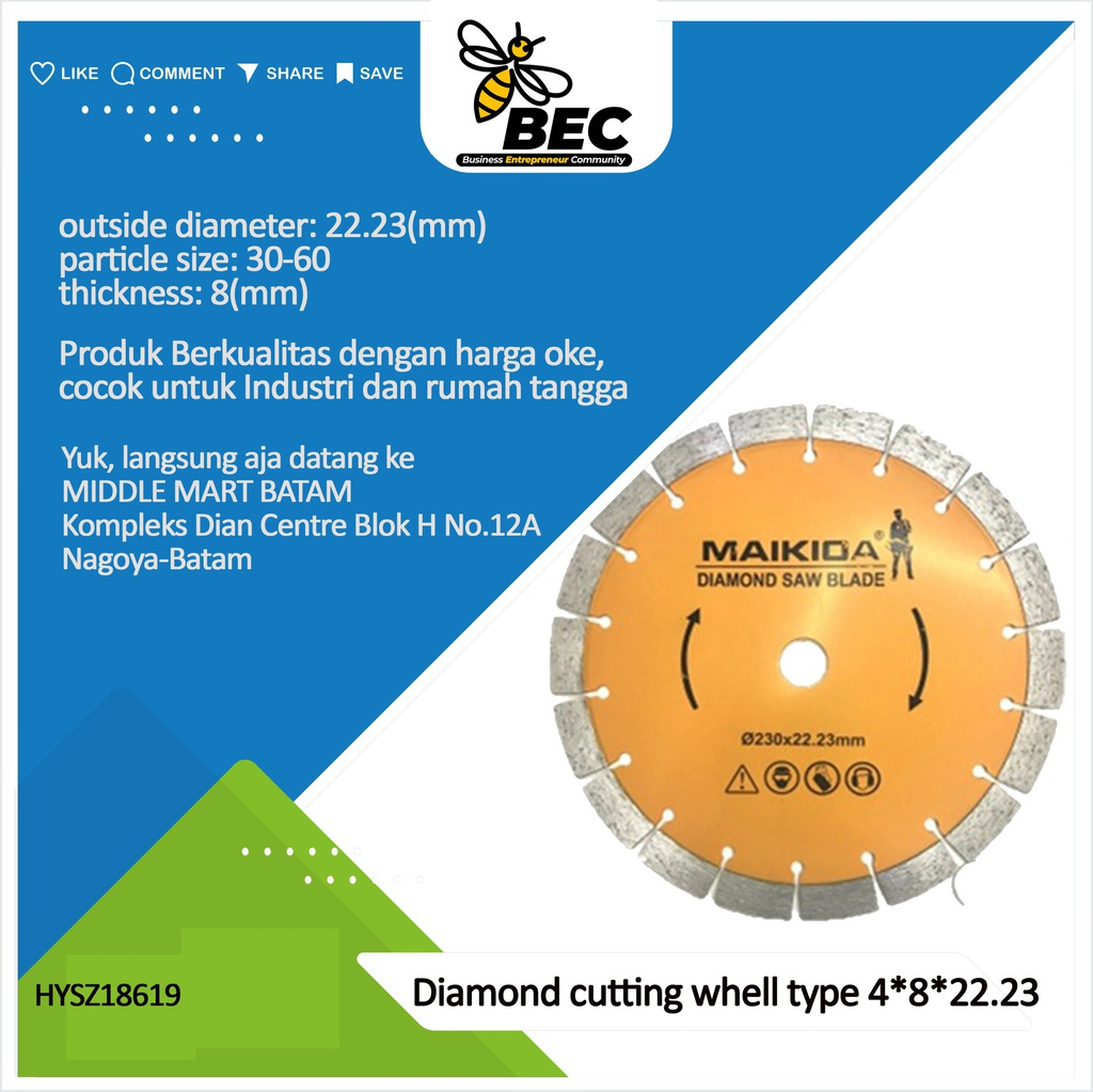 "Diamond cutting wheel  Type 4""*8*22.23 outside diameter 100MM material diamond inner diameter 22.23(mm) particle size 30-60 thickness 8 (mm) applicable scope stone material universal concrete tile ceramics"