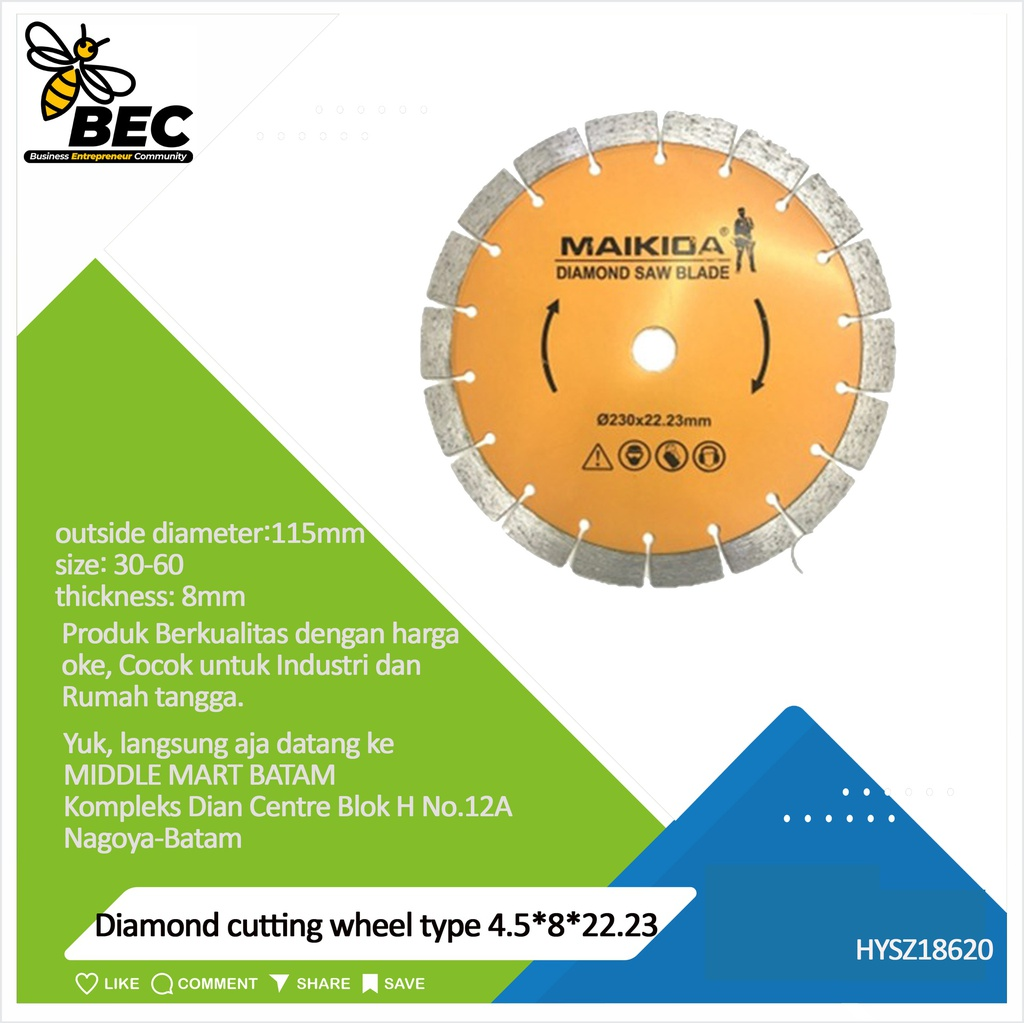 "Diamond cutting wheel  Type 4.5""*8*22.23 outside diameter 115MM material diamond inner diameter22.23(mm) particle size 30-60 thickness 8 (mm) applicable scope stone material universal concrete tile ceramics"