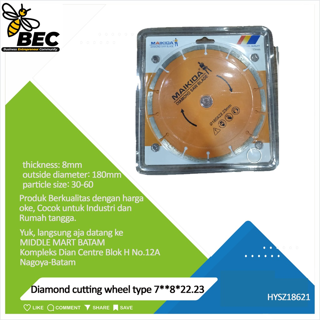 "Diamond cutting wheel  Type 7""*8*22.23 outside diameter 180MM material diamond inner diameter22.23(mm) particle size 30-60 thickness 8 (mm) applicable scope stone material universal concrete tile ceramics"