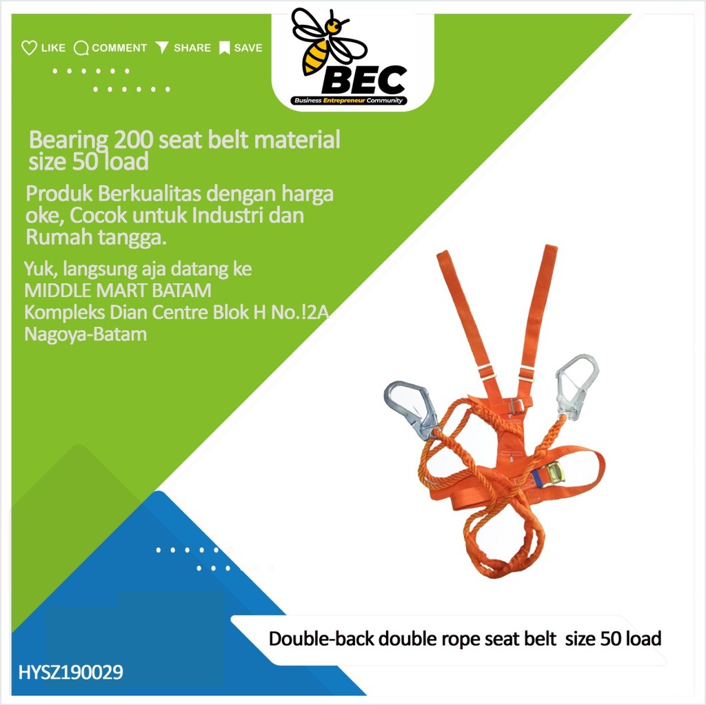 Double-back double rope seat belt Size 50 Load bearing 200 Seat belt material Polypropylene Safety rope material Polypropylene Safety rope length 2M