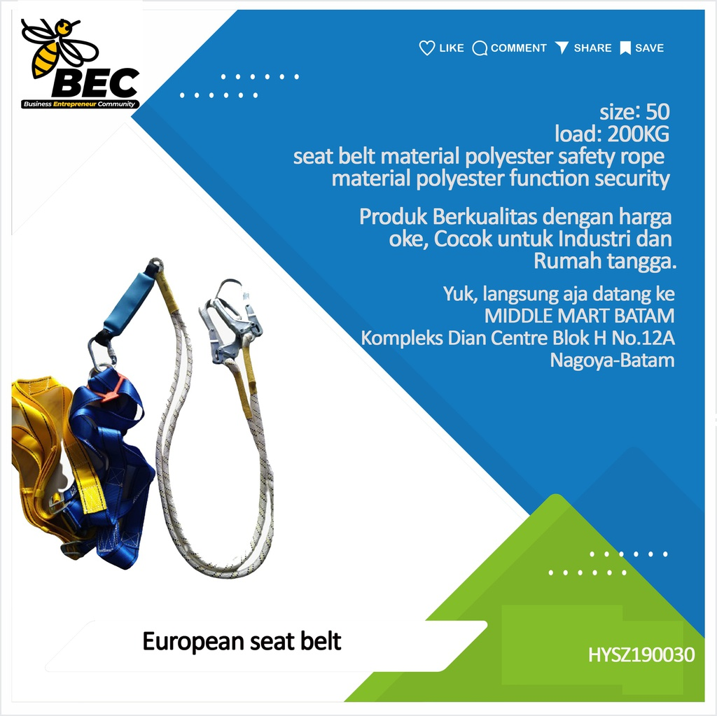 European Seat Belt Size 50 Load 200KG Seat Belt Material Polyester Safety rope material Polyester Function security