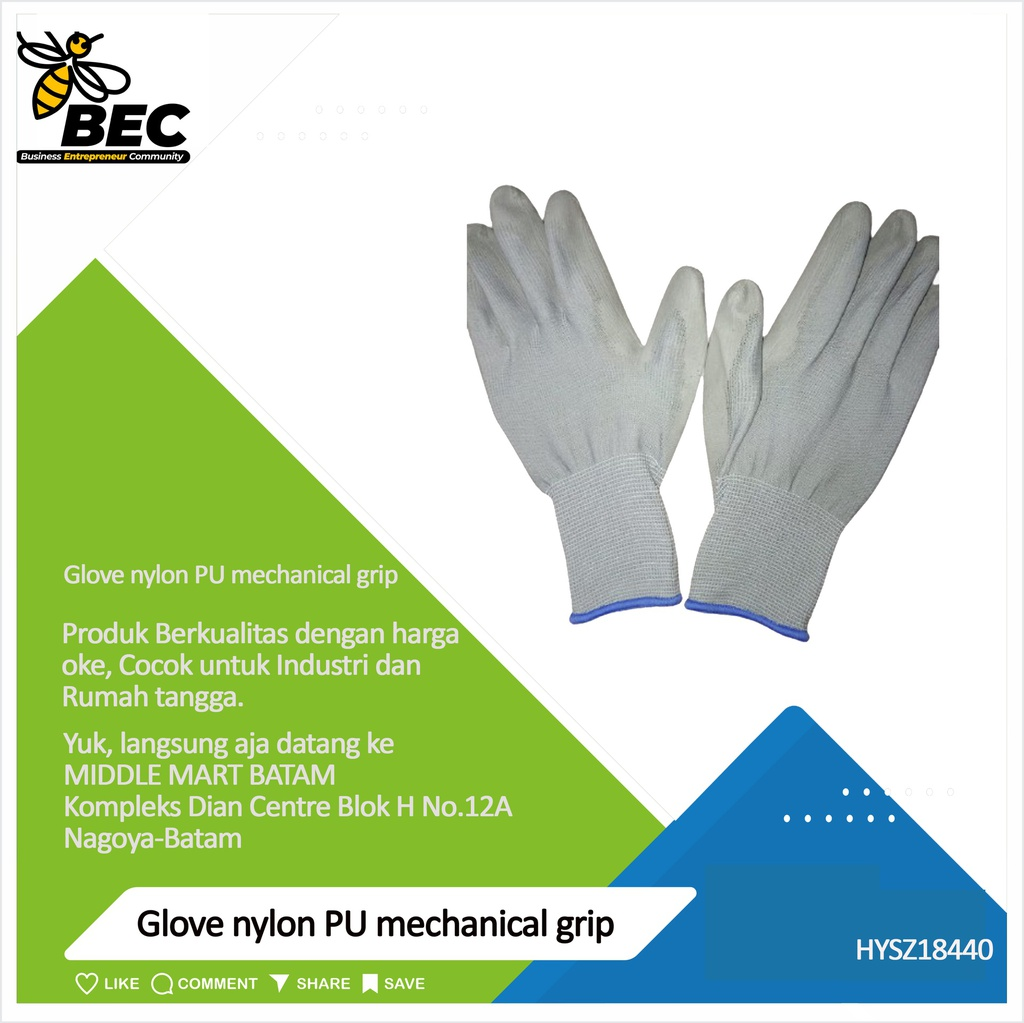 Glove nylon PU mechanical grip