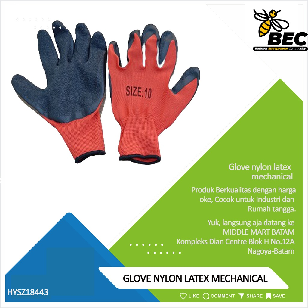 Glove nylon latex mechanical
