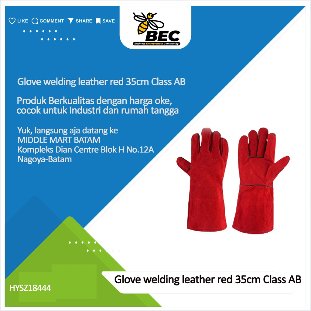 Glove welding leather red 35cm Class AB