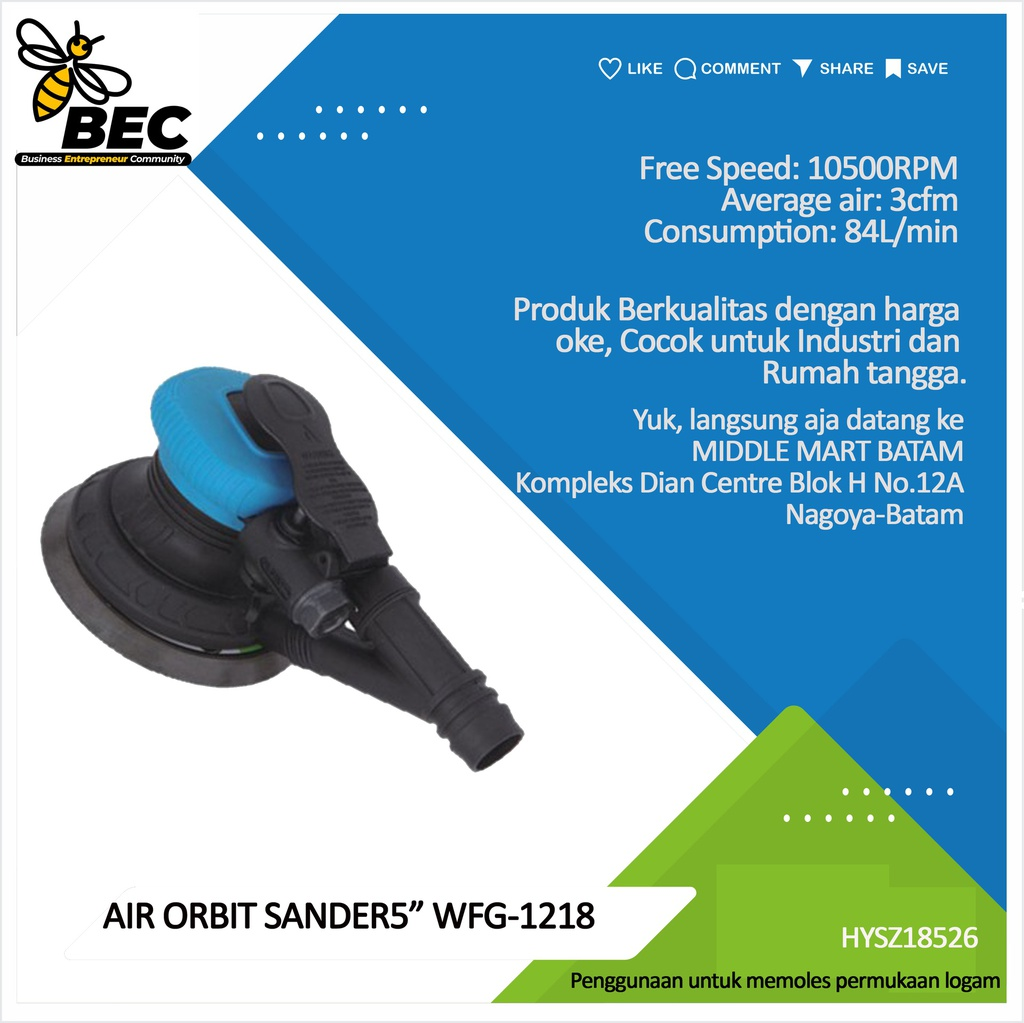 "AIR ORBIT SANDER 5""  WFS-1638  Free Speed  10500RPM ,Average air 3cfm Consumption 84L/min"