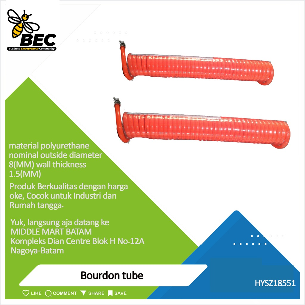 bourdon tube Material polyurethane nominal outside diameter 8 (mm) wall thickness 1.5 (mm)