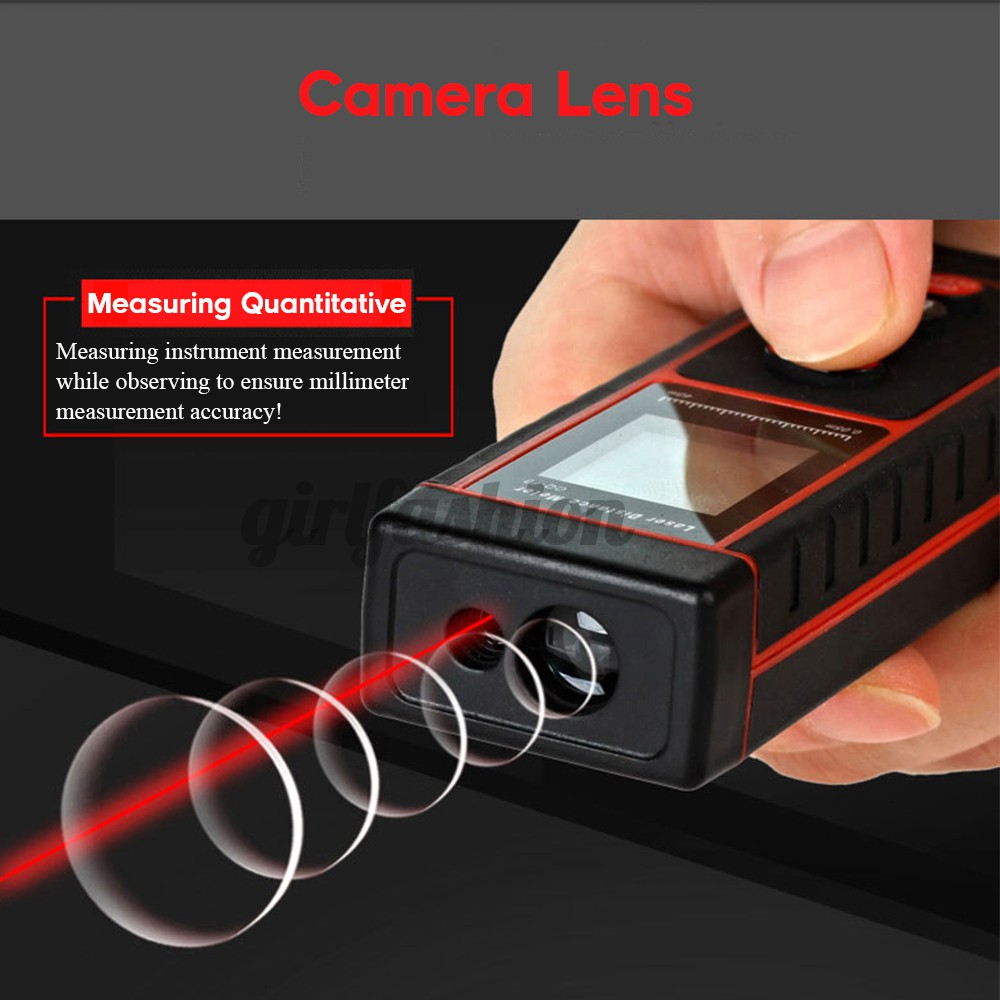 Hand-held laser distance meters Maximum measurement distance :60m Accuracy: ± 1.5 mm Measurement unit :mm/in/ft  Maximum storage :100 pcs Auto cut laser :20s Auto shut down :15s