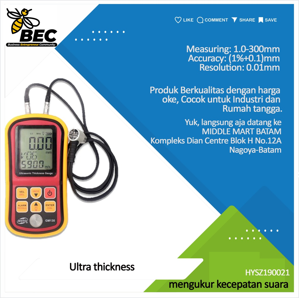 Ultrasonic thickness meter Measuring:1.0-300mm(steel) Accuracy:±(1%+0.1)mm Resolution:0.01mm