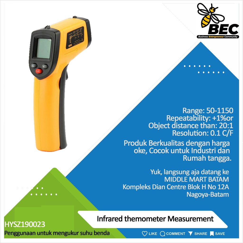 Infrared thermometer Measurement range: - 50-1150 ℃ (-58-2102F) Accuracy: ±1.5% or ±1.5 ℃ Repeatability: ±1% or ± 1 ℃ Object distance than:20:1 Emissivity:0.10-1.00 adjustable Resolution: 0.1 ℃ / F