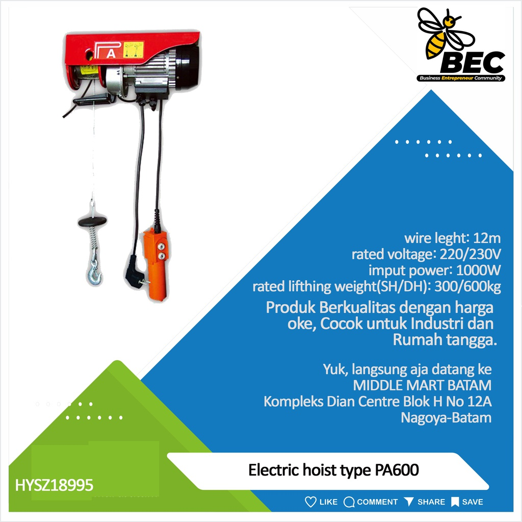 Electric hoist,type:PA600,wire length:12m, rated voltage:220/230V,imput power:1150W,220v,50Hz,rated lifting weight(SH/DH):300/600KG,lifting speed(SH/DH):10/5m/min,lifting height(SH/DH):12/6m,N.W./G.W:16.5/17KG,package size:42*15*25cm