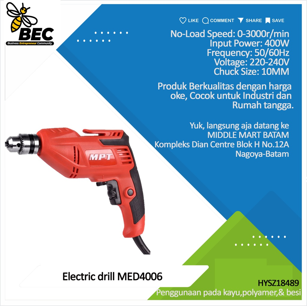 "Electric drill 10mm MED4006 ""Voltage: 220-240V Frequency: 50/60Hz Input Power: 400W  No Load Speed: 0-3000r /min Chuck Size:10MM"""