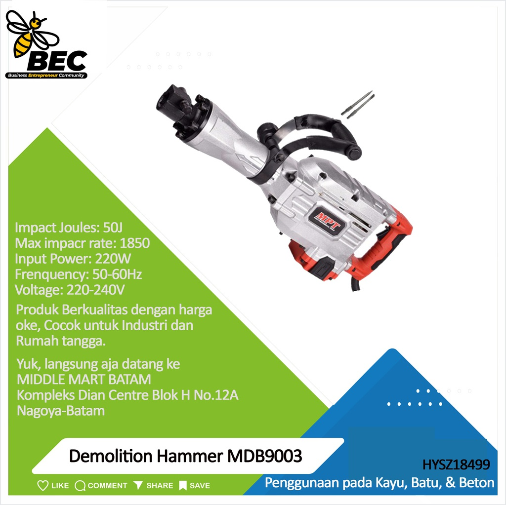 Demolition Hammer MDB9003 Voltage: 220-240V    Frequency: 50/60Hz  Input Power: 1700W  Max,impacr rate:1850r/min   Impact Joules:50J