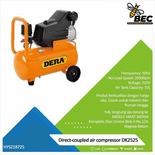 [HYSZ18725] Direct-coupled air compressor DK2525 Discharge Pressure 0.8Mpa Rated Voltage 220V Frequency 50Hz  Rated Input Power 2.5HP No-Load Speed 2850Rpm  Air Tank Capacity 25L  G.W./PCS 19.5kg/1Pc