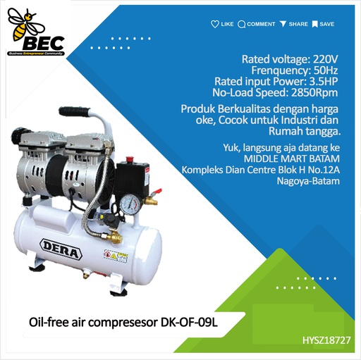 [HYSZ18727] Oil-free air compressor DK-OF-09L Exhaust pressure 0.8Mpa Rated voltage 220V Frequency 50Hz Rated input power 800W No-load speed 2850Rpm Air tank capacity 15L G.W./PCS 22.35kg / 1Pc