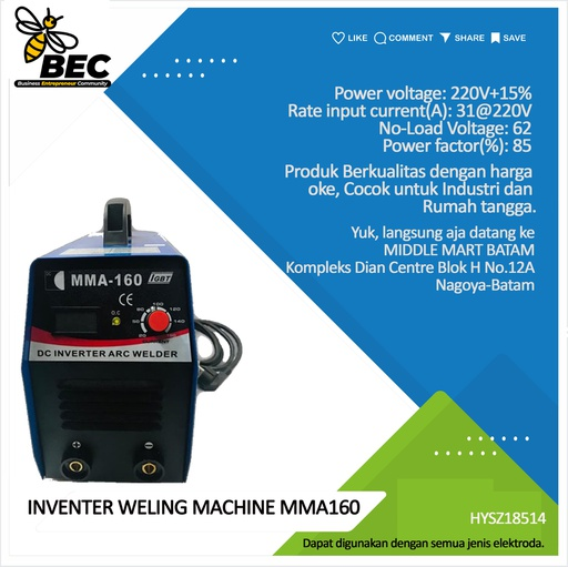 [HYSZ18514] INVERTER WELING MACHINE  type:MMA160, Power voltage 220V±15%, Rate input current(A) 31@220v, No-load voltage(V) 62. Output current adjustmwnt arrange(A) 20-160 Rate output voltage(V) 26.4 Duty cycle(%) 60 Efficiency(%) 85 Power factor 0.93. No-load loss(w) 40