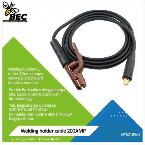 [HYSZ18567] welding holder cable 200AMP welding holder+2meter 10mm copper wire+(10-25)male & famale connector