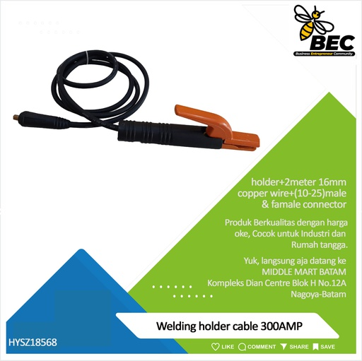 [HYSZ18568] welding holder cable 300AMP welding holder+2meter 16mm copper wire+(10-25)male & famale connector