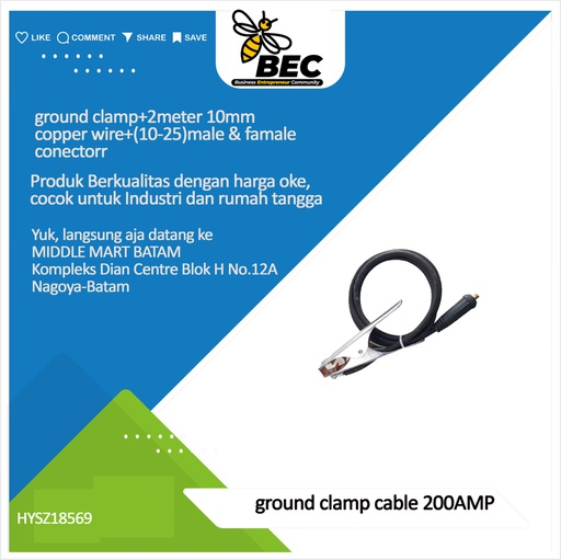 [HYSZ18569] ground clamp cable 200AMP ground clamp+2meter 10mm copper wire+(10-25)male & famale connector